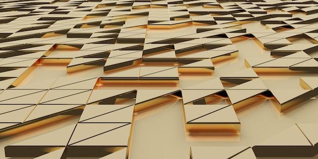 황금 삼각형 픽셀 기하학적 추상화 우아하고 정교한 배경 3d 렌더링