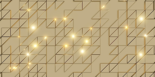 Golden triangle pixel geometric abstraction elegant and sophisticated background 3d rendering
