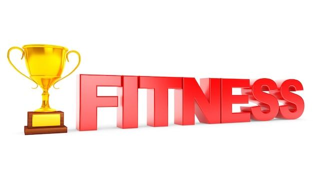 Золотой трофей и знак фитнеса на белом фоне