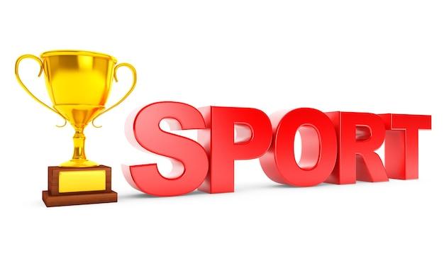 Золотой трофей и спортивный знак на белом фоне