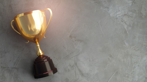 Golden trophy on concrete background. 3d rendering.