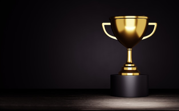 Golden trophy cup on a black background