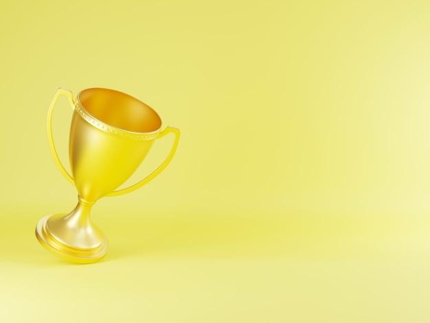 Golden trophy cup champion trophy 3d rendering illustration