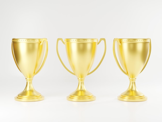 Golden trophy cup champion trophy metallic shiny gold winner cup and victory 3d rendering