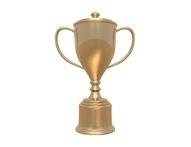 Золотой трофейный кубок на белом фоне