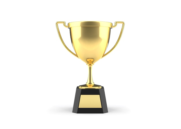 Golden trophy cup on white background with clipping path.