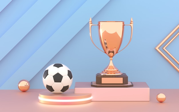 Golden trophy cup with soccer ball on the podium.