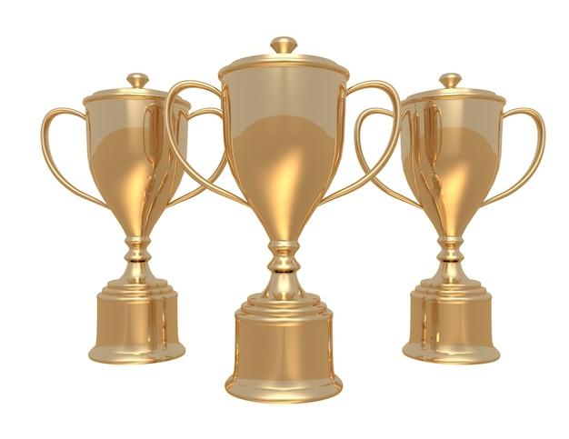 Золотые кубки трофея на белом фоне