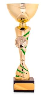 Золотой трофей, изолированные на белом фоне.
