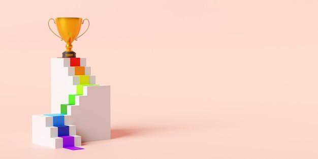 Золотой трофей на подиуме лестницы 3d иллюстрации