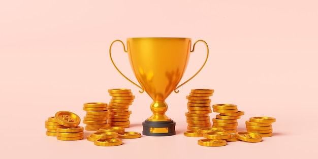 Golden trophy with dollar coin prize for the winner 3d illustration