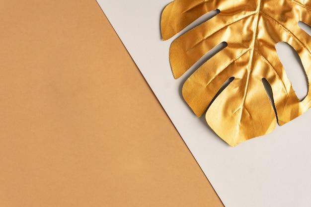 Золотой тропический пальмовый лист монстера Premium Фотографии