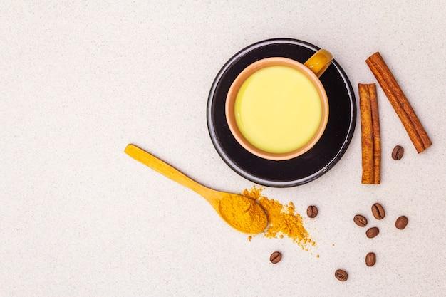 Golden turmeric cinnamon coffee latte