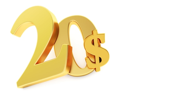 Golden twenty dollar sign isolated