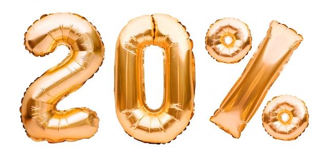 白で隔離される膨脹可能な風船で作られた黄金の20%記号。ヘリウム風船、金箔の数字、セール装飾、20%オフ
