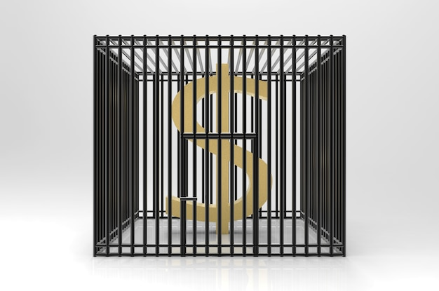 Golden us dollar currency sign trapped in black cage, boycott concept.