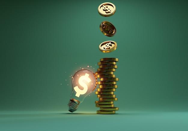 透明な電球の中で輝く黄金の米ドル記号は、創造的な思考のアイデアと問題解決のためにコインを積み重ねたり落としたりすることで、3dレンダリング技術によってより多くのお金を稼ぐことができます。