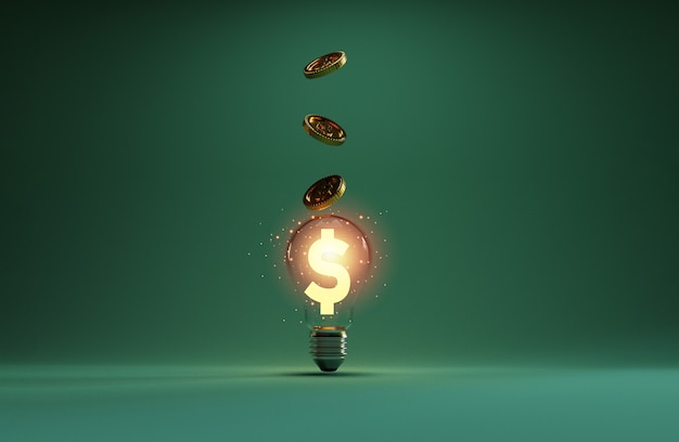 Золотой знак доллара сша, светящийся внутри прозрачной лампочки с монетами, укладывающимися в стопку и падающими за идею творческого мышления и решение проблем, может заработать больше денег с помощью техники 3d-рендеринга.