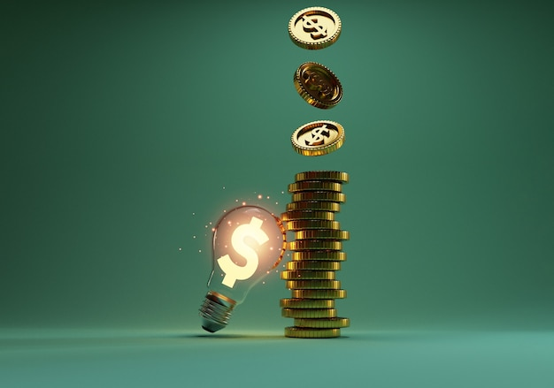 Golden us dollar sign glowing inside transparent lightbulb with coins stacking and dropping for creative thinking idea and problem solving can make more money by 3d rendering technique.