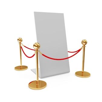 Golden velvet rope and blank board isolated on white background