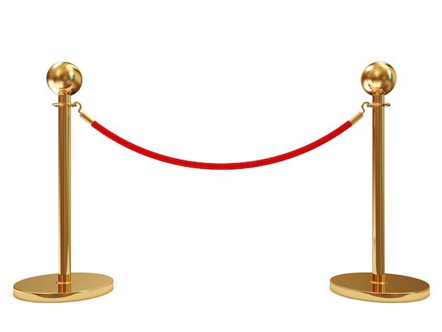 Golden velvet rope isolated on white background