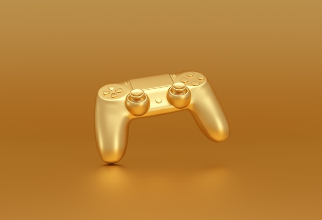 Golden video game controller on golden background. gaming stream concept. 3d rendering.