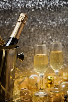 Golden view with champagne bottle