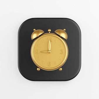 Golden vintage alarm clock icon. 3d rendering of black square key button, interface ui ux element.