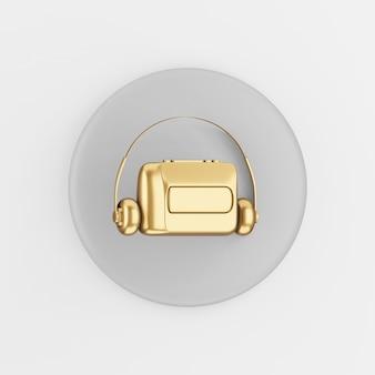 Golden vintage audio cassette player icon. 3d rendering gray round key button, interface ui ux element.