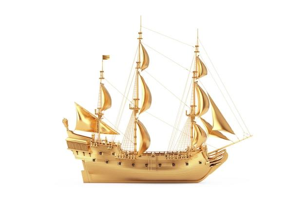 Золотой старинный высокий парусник, каравелла, пиратский корабль или военный корабль на белом фоне. 3d рендеринг