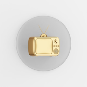 골든 빈티지 tv 아이콘입니다. 3d 렌더링 라운드 회색 키 버튼, 인터페이스 ui ux 요소.