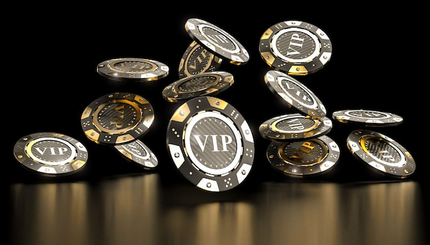 Golden vip casino chip 3d