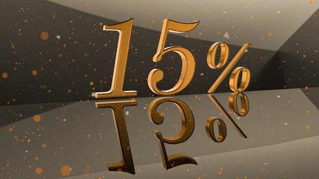 Golden volumetric number 15 percent on mirror surface with round particle background 3d illustration