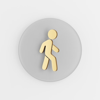 Golden walking man flat outline icon. 3d rendering round gray key button, interface ui ux element.