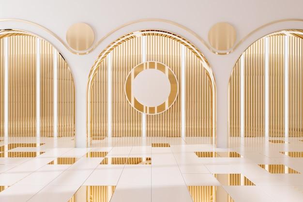 黄金の壁の内部の背景.3dレンダリング