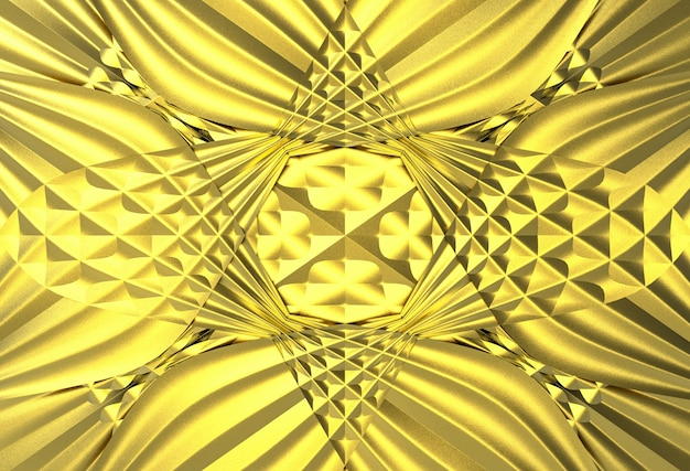 Golden waving art shape pattern wall background.