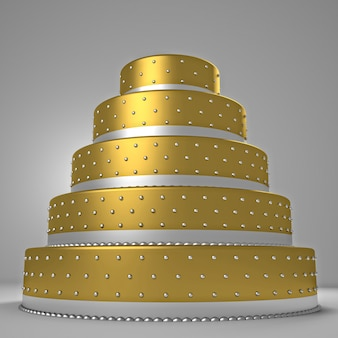 Golden wedding cake