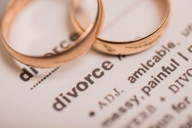 辞書ページの黄金の結婚指輪