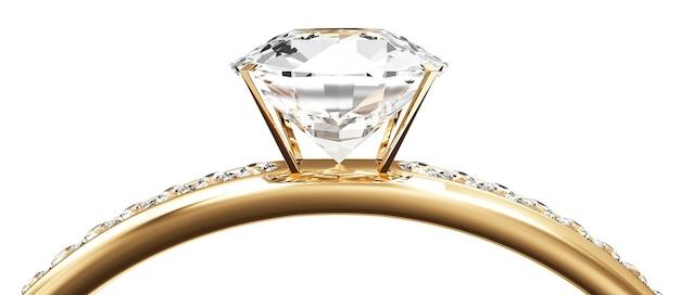 白い背景の上のダイヤモンドと黄金の結婚指輪