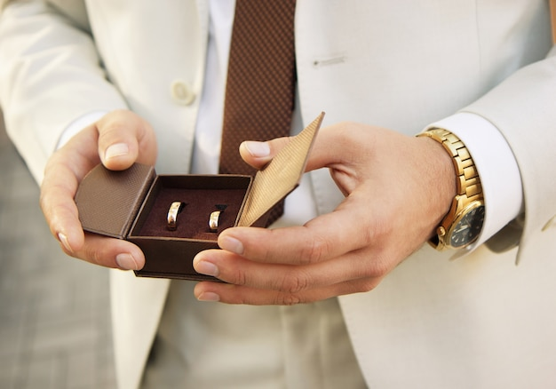 Golden wedding rings in a box