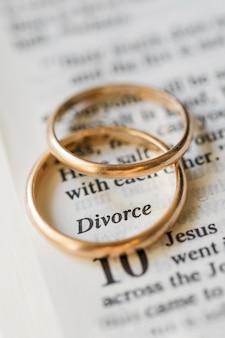 Golden wedding rings divorce concept