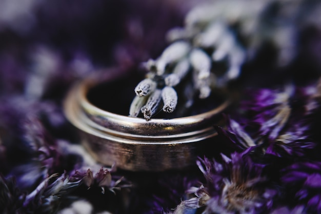 Golden wedding rings lie on the bouquet of violet lavander
