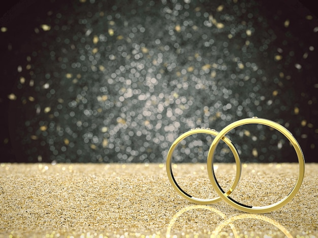 골드 반짝이 배경에 황금 결혼 반지