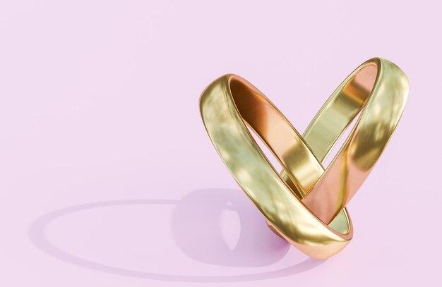 ピンクの背景に金色の結婚指輪