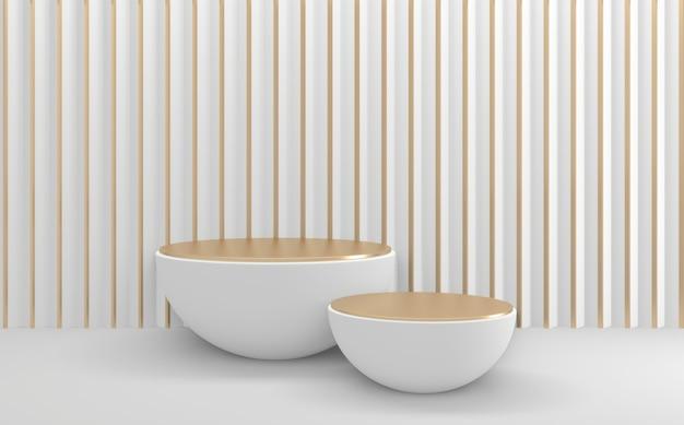 Золотой белый геометрический макет пустой подиум 3d визуализации