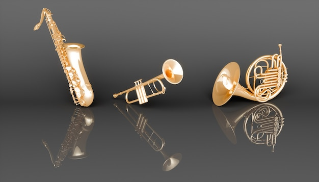 Музыкальные инструменты золотой ветер на черном фоне, 3d иллюстрация