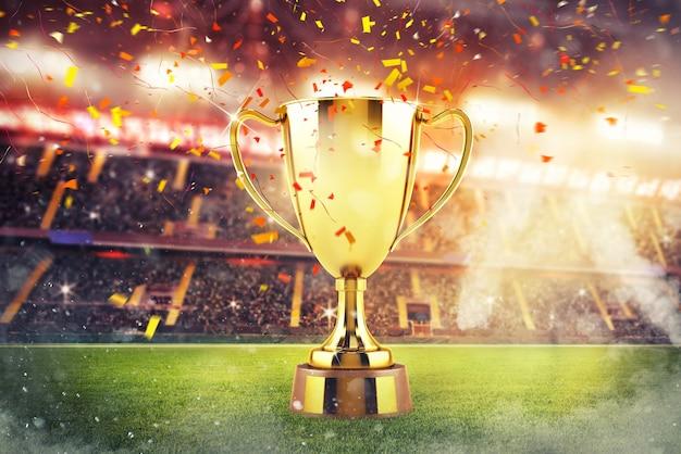 Золотой кубок победителя посреди стадиона со зрителями