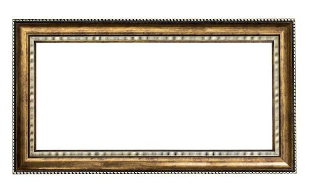 白い背景の上の黄金の木製フレーム
