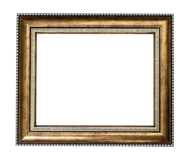 Золотая деревянная рамка на белом фоне