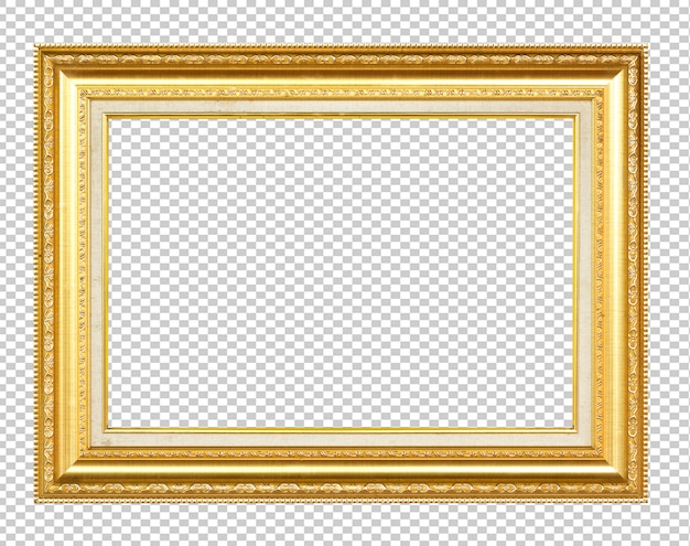 Golden wooden frame isolated on transparen